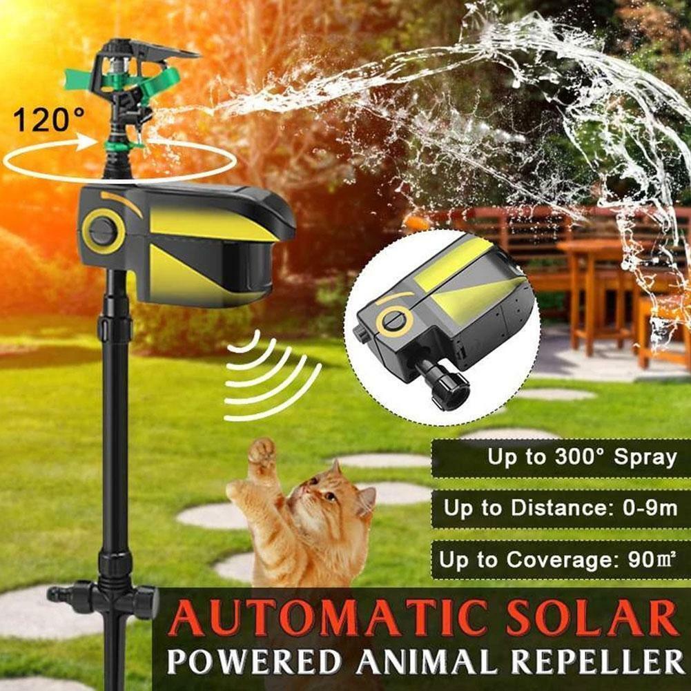 Solar Power Animal Repellent Sprinkler Motion Activated Blaster for Yard Garden