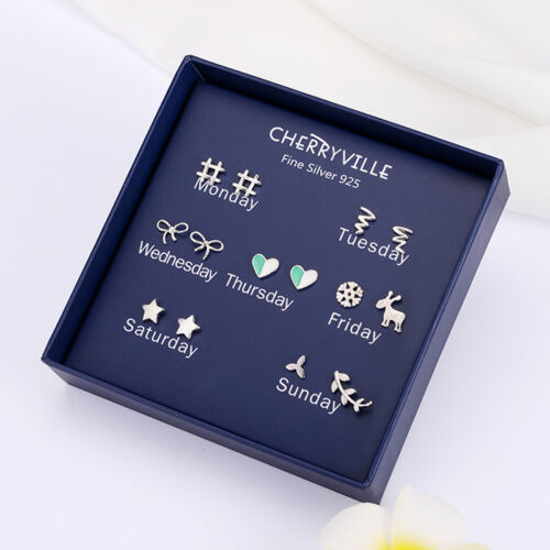 7Pairs//Box One Week 925 Sterling Silver Needle Earrings Ear Studs Jewelry GiftVQ