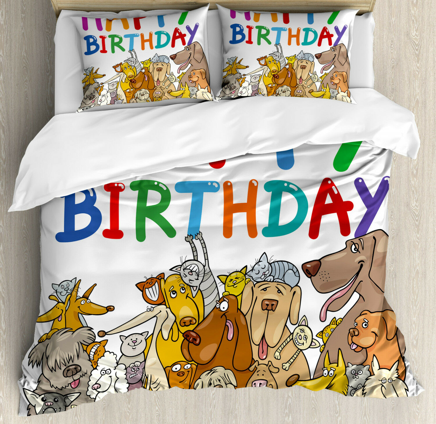 Party Duvet Cover Set with Pillow Shams Streets Dogs Animals Print