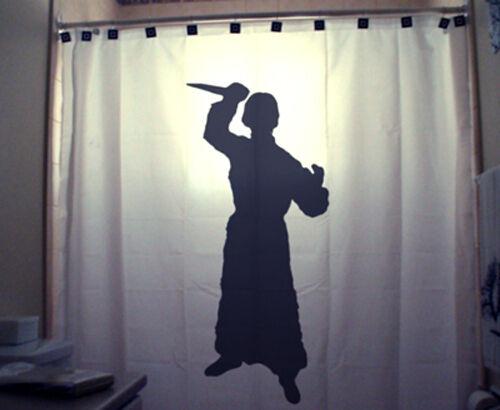 Killer Psycho Bathroom Shower Curtain Scary Halloween knife kill kill kill stab kid unique 2ad344