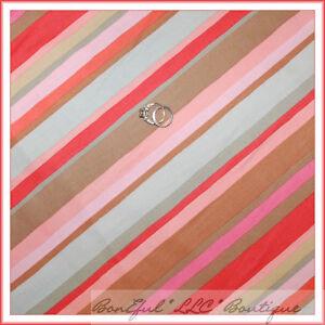 BonEful-Fabric-FQ-Cotton-Quilt-Orange-Pink-Brown-Gray-Flower-Rose-STRIPE-Retro-L