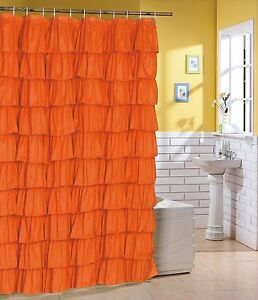 Image Is Loading Flamenco Ruffle Shower Curtain Color Orange