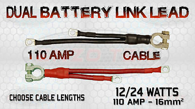 110 Amp Live Earth Twin Battery Link Lead Cable Strap Boat Marine Camper Van Fein Verarbeitet