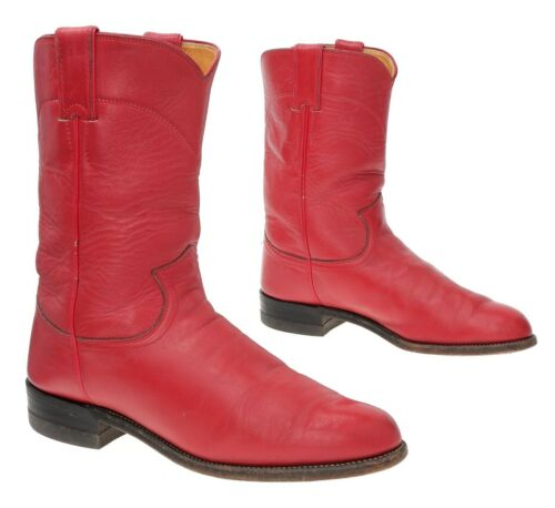 JUSTIN Cowboy Boots 7.5 C Womens Red Leather Weste