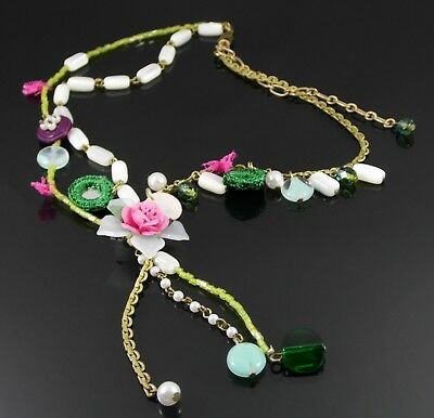 ANTIQUE BRONZE PINK LUCITE FLOWER BEAD AND MIRRORED CHARM STATEMENT NECKLACE
