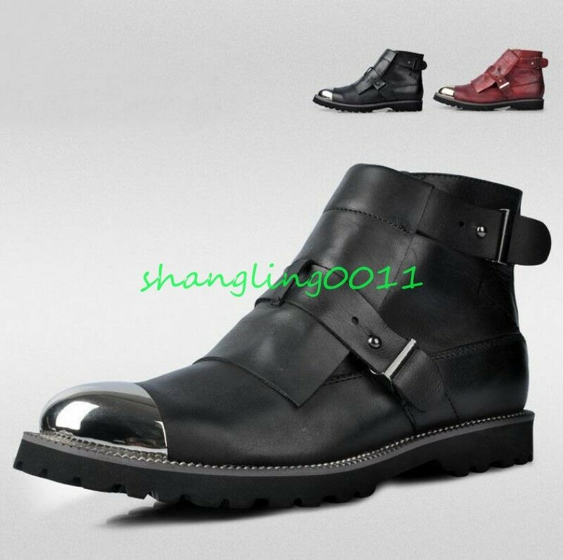 Mens Real Leather Buckle Strap Zipper Ankle Boots fashion Military Boots 2019