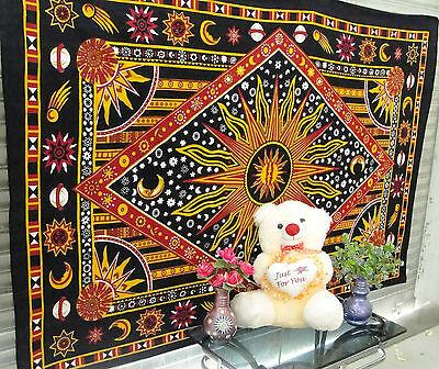 Burning Sun Tapestry Sun Moon Wall Hanging Twin Hippie Bedspread Wall Decor Art