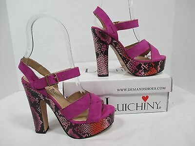 "Luichiny ""Is A Bell"" Purple Strappy Platform Chunky Heel W/Original Box Sz5M EUC"