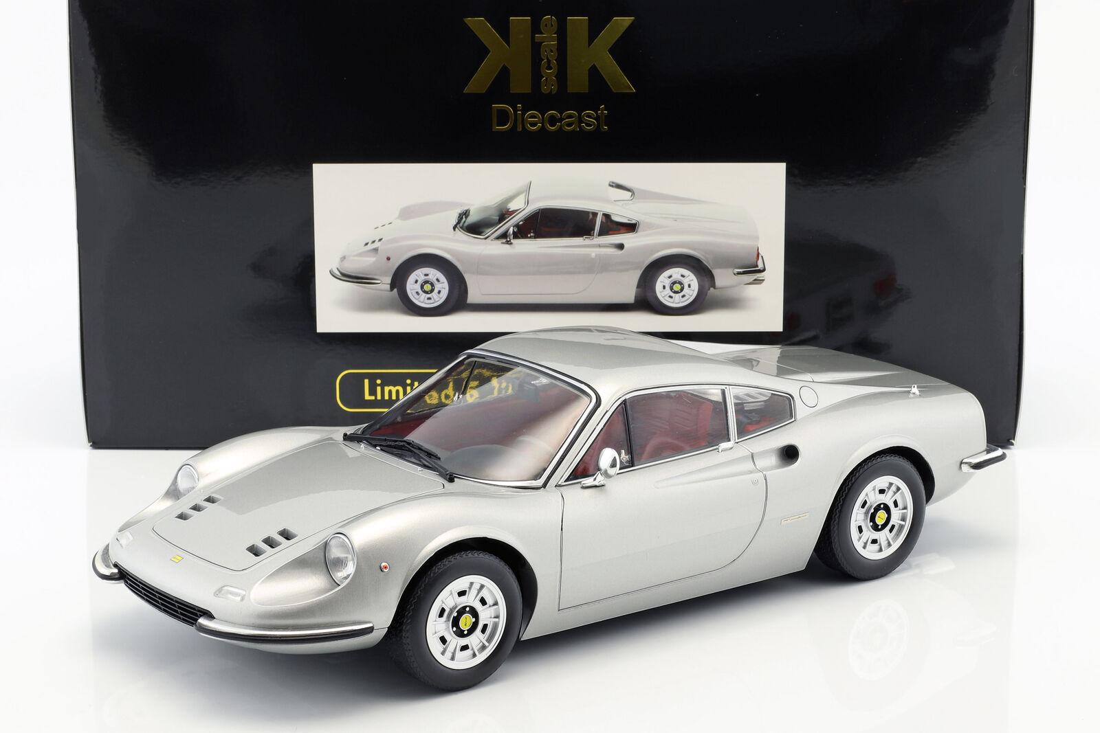 Années et bagues brillantes Ferrari 246 GT Dino Année Modèle 1973 argent 1:12 KK-Scale | Paquet Solide Et élégant