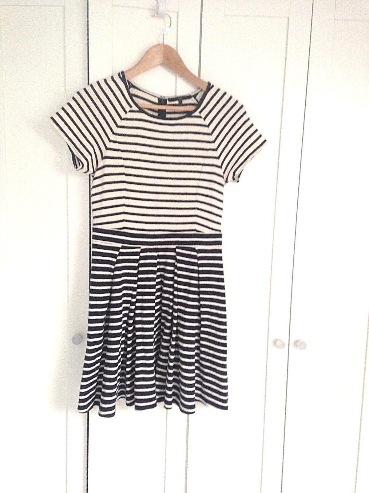 TIBI Woherren sz 6 Short A-Line Summer Dress Navy + Cream Striped Pleated Skirt