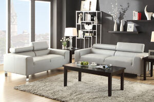 Bonded Leather Sectional Set Sofa & Loveseat Gray Adjustable Headrests Furniture