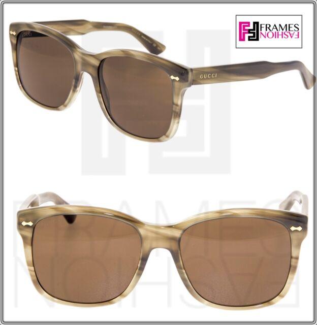 8b327d6d89e GUCCI 0050 Classic Square Brown Havana Stripe Sunglasses GG0050 Vintage  Unisex