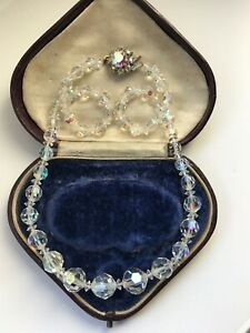 Vintage-1950-039-s-Aurora-Borealis-Faceted-Glass-Single-Strand-Necklace