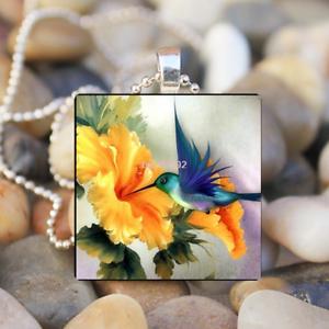 Animal Hummingbird cabochon verre carrelage Balle Chaîne Collier Pendentif Art Cadeau