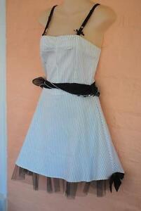 Pin-Up-Dress-Hot-Topic-Sexy-Crinoline-Skirt-Pinstripes-XS-Rockabilly