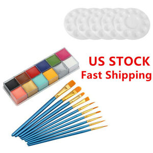 12-Colors-Paint-Tray-Palettes-Brush-for-DIY-Craft-Professional-Art-Painting-Kit