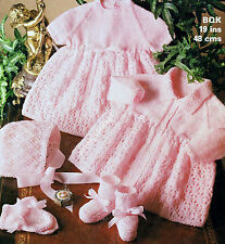 "VINTAGE BABY KNITTING PATTERN DK 19"" DRESS COAT BONNET BOOTEES MITTS"
