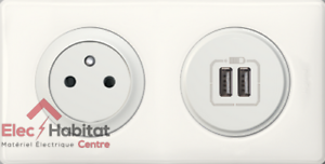 Presa 2p+T Profi+ Doppio USB Céliane Ieri Bianco 67111 +67462+68256+ 80252+