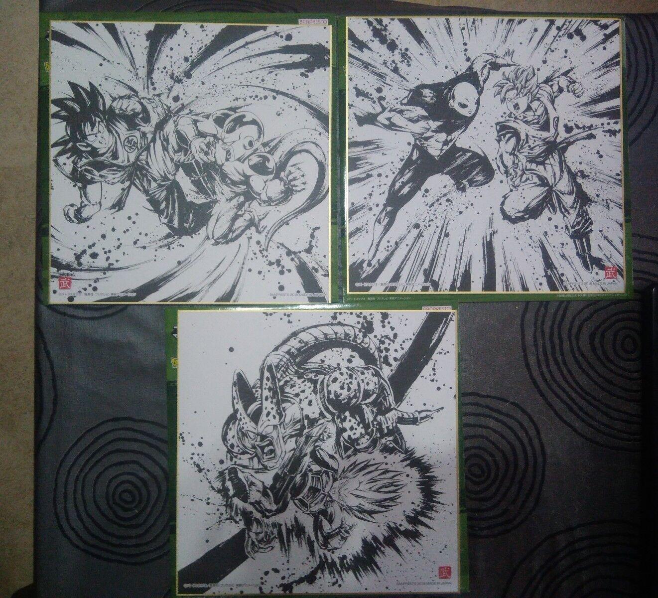 3 dragonball goku jiren vegeta cell freezer cartas shikishi 24x24cm bola de drac