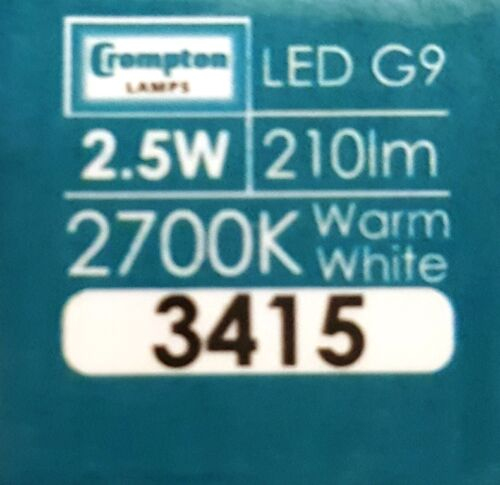 Lot de 10 Crompton DEL G9 2.5 W blanc chaud 210 lm 3145 2700K 6000 H