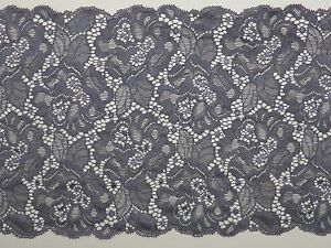 Beautiful Floral Embroidery Scalloped French Stretch Lace Trim 18.5cm Width —1 M