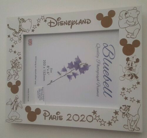 "Personalised Disney Photo Frame Engraved 8x6/"" Landscape White"