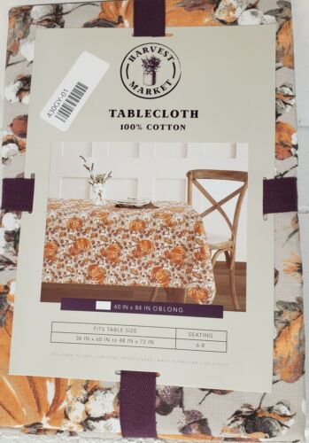 "60/""x 84/"" Oblong Printed Fabric Tablecloth PUMPKINS /& ACORNS by Harvest Market"