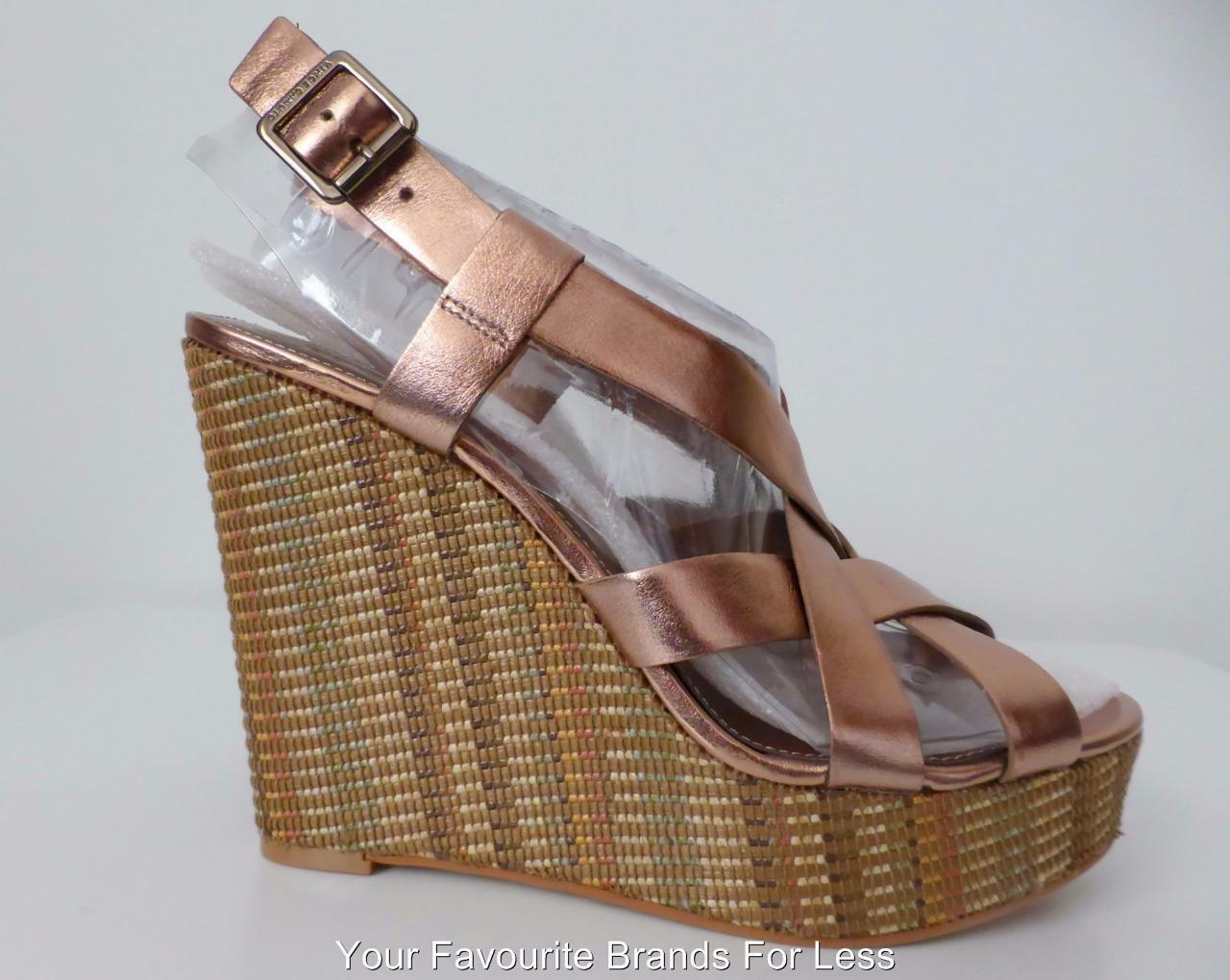 VINCE CAMUTO  Size 10 M Bronze Pelle and Fabric Wedges