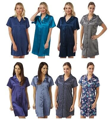Damen Lila kein Muster Satin Nachthemd Knopfleiste Hemd Kurzärmelig Übergröße