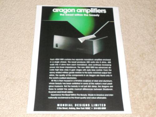 Article 1 pg Info Rare Info! Aragon 4004 Mk II Power Amplifier Ad