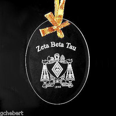 Zeta Beta Tau, ΖΒΤ, Ornament/Sun Catcher Name & Crest Beveled Crystal Oval