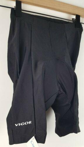 NWT VIGOR Unisex Padded Cycling Compression Shorts Sizes XS-S Black Stretch