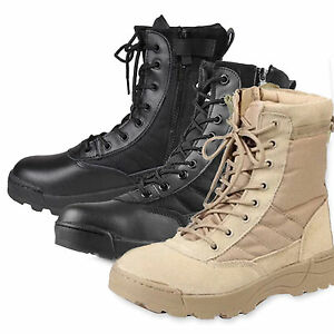 Hombres-Ejercito-tactica-Suave-Cuero-Combate-Militares-Tobillo-Botas-Nuevo