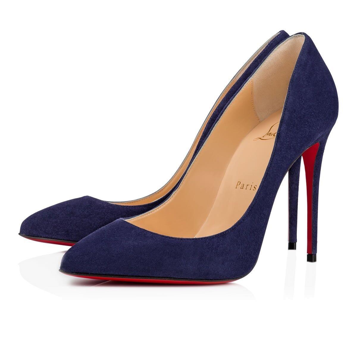 NIB Suede Christian Louboutin Pigalle Follies 100 China Blau Suede NIB Heel Pump Schuhe 36.5 8508e0