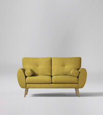 Swoon Egle Living Room Stylish Sleek Mustard Beech Two Seater Sofa - RRP £1199