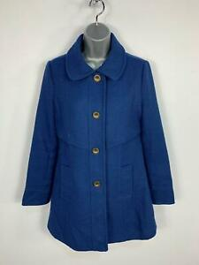 WOMENS-TULLE-BLUE-BUTTON-UP-CASUAL-WINTER-LONG-OVER-COAT-JACKET-SIZE-MEDIUM