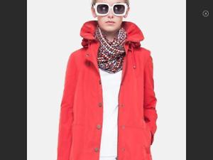 AKRIS PUNTO Red Drawcord Taffeta Parka Rain Jacket Size 12