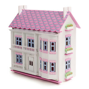 Pink & White Wooden Dolls House Doll House Dollhouse 6 Room Furniture & 4 Dolls