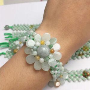 "Pretty A JADE Jadeite Bead Beads Bangle Flower Bracelet Green 7.5"""
