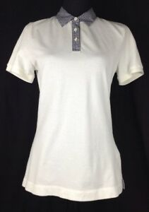 Brooks Brothers Women s White Polo Short Sleeve Shirt Plaid Collar ... f2f320862