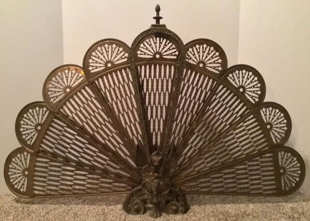 Vintage Brass Peacock Fan Fireplace, Brass Fireplace Screen Vintage