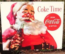COKE Coca Cola Sign Tin Vintage Garage Bar Decor Old Time Santa Clause Bottles