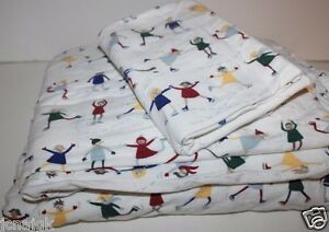 Eddie Bauer Home Store 3 Pc Twin Cotton Flannel Sheet Set W Ice Skater Print Ebay