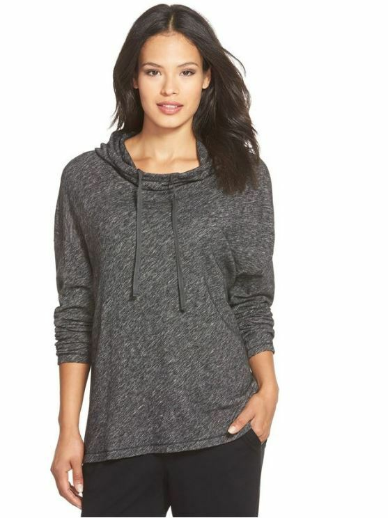 Eileen Fisher Charcoal Plaited Cotton Wool Blend Hooded Boxy Top XS