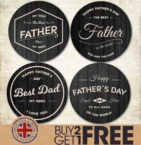 24x-40mm-Happy-Father-s-Day-Retro-Black-Cream-Sticker-Cards-Shop-Best-Dad-Label