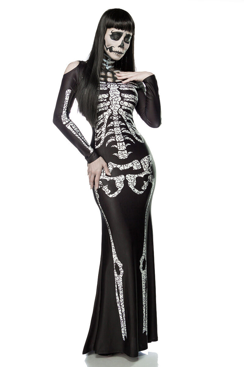 Sexy LADY SCHELETRO costume travestimento HALLOWEEN abito lungo taglia UNICA