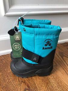 Kamik Rocket waterproof Kids Winter Snow Boot Toddler Shoe Size 8 Turqoise Blue