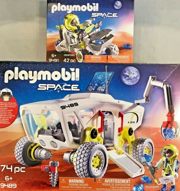 Playmobil Space #9489 Mars Research Vehicle Goodman #9491 Rover Denford Set Of 2