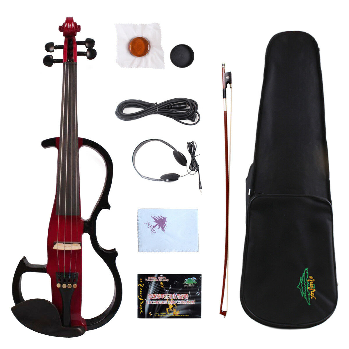 Yinfente Electric Silent Violin 4 4 Ebony Parts Free Case Bow Cable  EV8