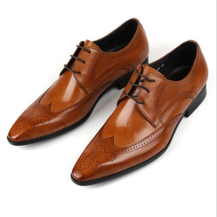 Real Pelle Pointed Toe Dress Formal wedding party Shoes Uomo Brogues Wing Tip